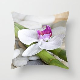 white Orchid flower  and green Bamboo still life Throw Pillow