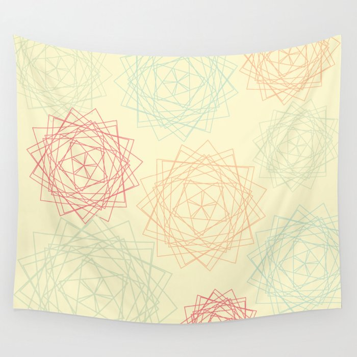 Origami Blooms Wall Tapestry