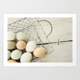 Eggs in one basket Art Print