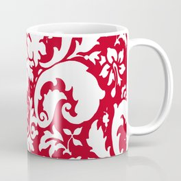 Paisley Damask Red and White Pattern Coffee Mug