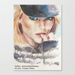 Emma Stone, blonde Canvas Print