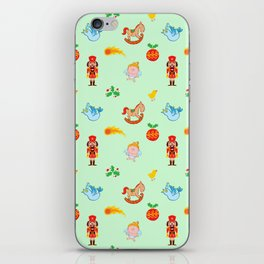Nutcracker, rocking horse, angel and bird Christmas pattern iPhone Skin