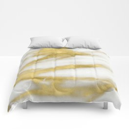 Marble - Gold Marble on White Pattern Comforters