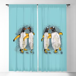 Happy penguin couple - Teal fade Blackout Curtain