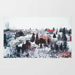 French Winter Village Rug