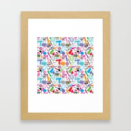 make up collection background (seamless pattern, beauty and makeup design) Framed Art Print