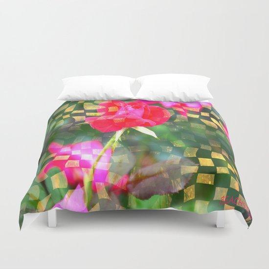 Checkered Rose Duvet Cover