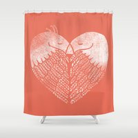 dave grohl Shower Curtains featuring Love birds sitting on a tree by Picomodi