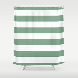 Sage Green & White Horizontal Cabana Tent Stripes Shower Curtain