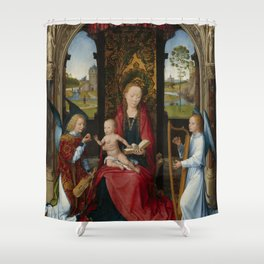 """Hans Memling """"Madonna and Child with Angels"""" Shower Curtain"""