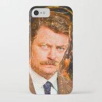 ron swanson iPhone & iPod Cases featuring Ron Swanson by lucaguglielmi