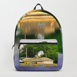 Millisle seafront, Ireland. (Painting) Backpack