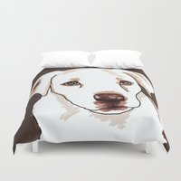 golden retriever Duvet Covers featuring Golden retriever by Pendientera