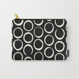 Polka Dots Circles Tribal Cream on Black Carry-All Pouch