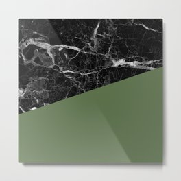 Black Marble and Kale Color Metal Print