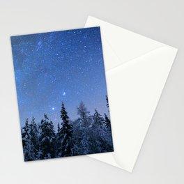 Shimmering Blue Night Sky Stars 2 Stationery Cards
