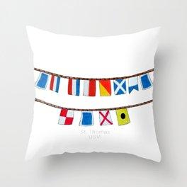 St Thomas Nautical Flags Throw Pillow