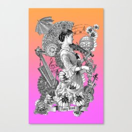 music, player, violin, strings, sounds, bloom, flowers, melody, musical, feminine, vintage, Canvas Print