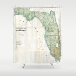 Vintage Map of Florida (1853) Shower Curtain