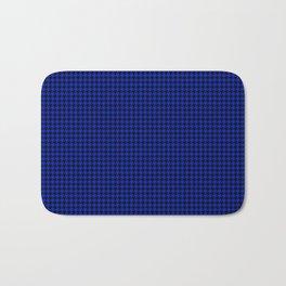 Cobalt Blue and Black Houndstooth Check Pattern Bath Mat