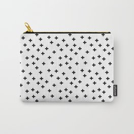 Black hand drawn pluses pattern on white Carry-All Pouch