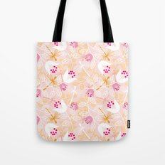 Flowers and dragonfly on blush Tote Bag