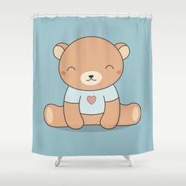 Kawaii Cute Teddy Brown Bear Shower Curtain