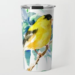 American Goldfinch, yellow sage green birds and flowers Travel Mug