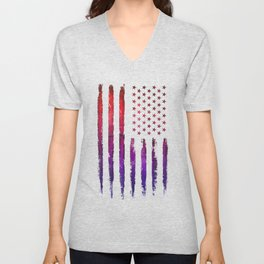 Red & blue gradient USA flag Unisex V-Neck