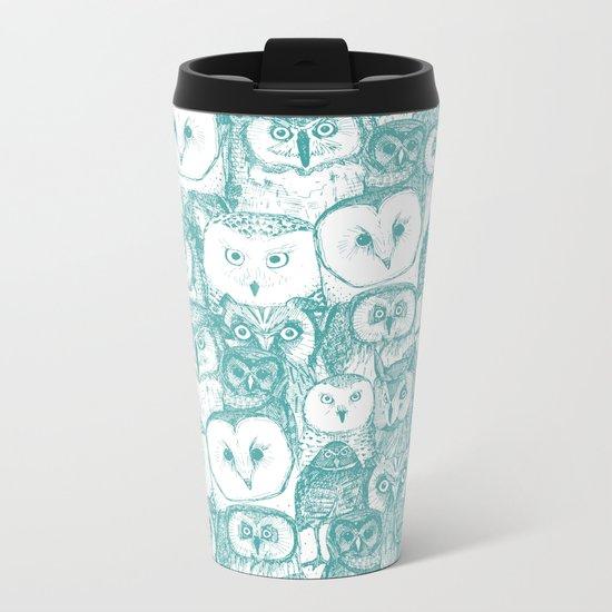 just owls teal blue Metal Travel Mug