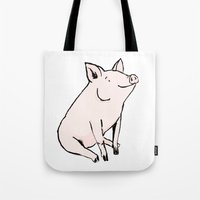pig Tote Bags featuring Pig by Emily Stalley