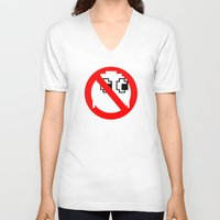 ghostbusters V-neck T-shirts featuring Pacman Ghostbusters by dutyfreak