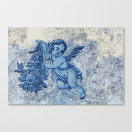 Antique Angel with flowers Canvas Print
