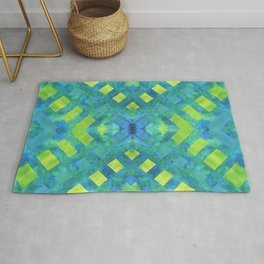 Green and blue geometric abstract motif, hand painted elements Rug