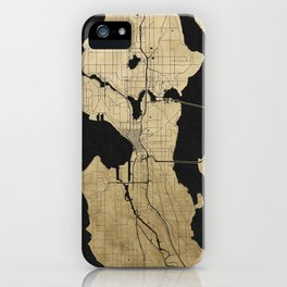 Seattle Black and Gold Street Map iPhone Case
