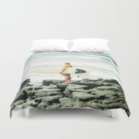 surfer Duvet Covers featuring Surfer Girl by Elliott's Location Photography