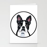 boston terrier Stationery Cards featuring Boston Terrier  by Lorraine Stylianou