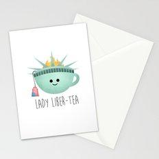 Lady Liber-tea Stationery Cards