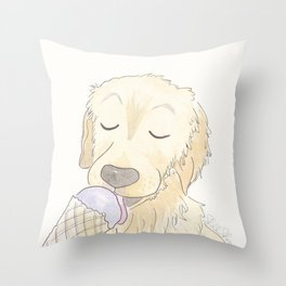Labrador Dog and Lavender Ice-Cream Love Throw Pillow