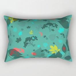 Leaf Blue Pattern Rectangular Pillow