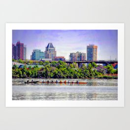 Rowing by Baltimore skyline teamwork Art Print
