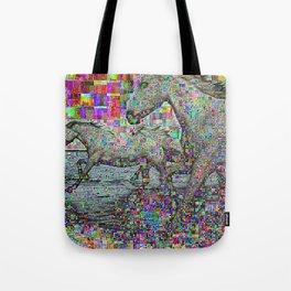 wild glitch horses Tote Bag