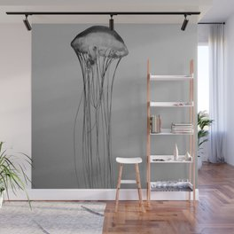 Black and White Jellyfish Art Photography, Drifting Through Time and Space Wall Mural