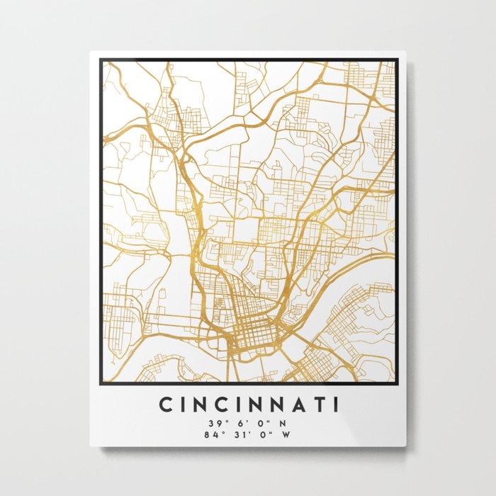 CINCINNATI OHIO CITY STREET MAP ART Metal Print by deificusart on