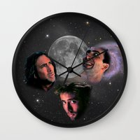nicolas cage Wall Clocks featuring 3 Cage Moon by Jared Cady