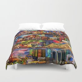 World Travel Book Shelf Duvet Cover