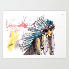 Young Warrior Dreams Art Print
