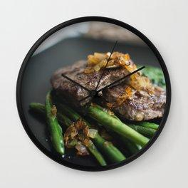 Paleo Steak Closeup Wall Clock