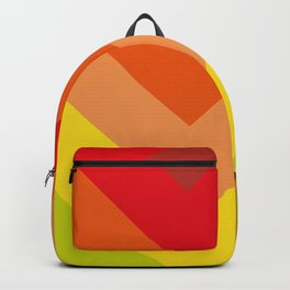 Squares, concentric squares. With a lot of shades of red and orange and brown and green and yellow. Backpack