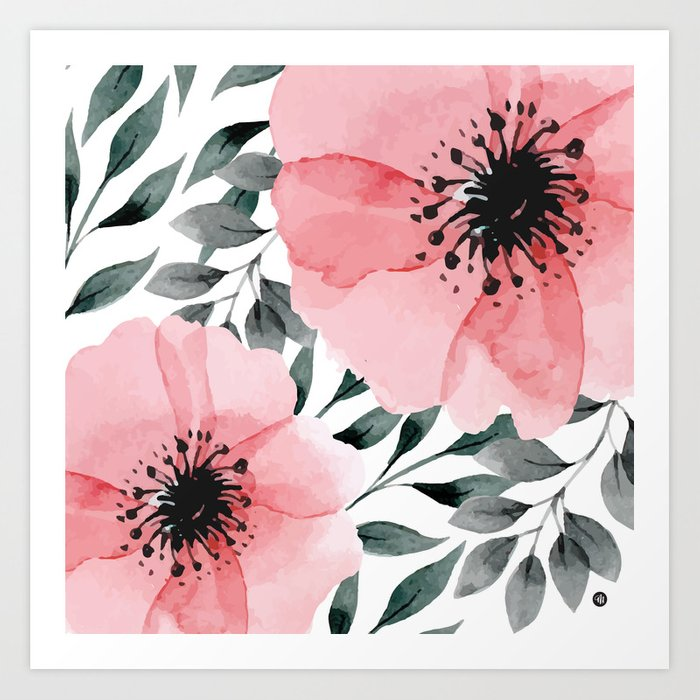 big watercolor flowers art print by mmartabc society6